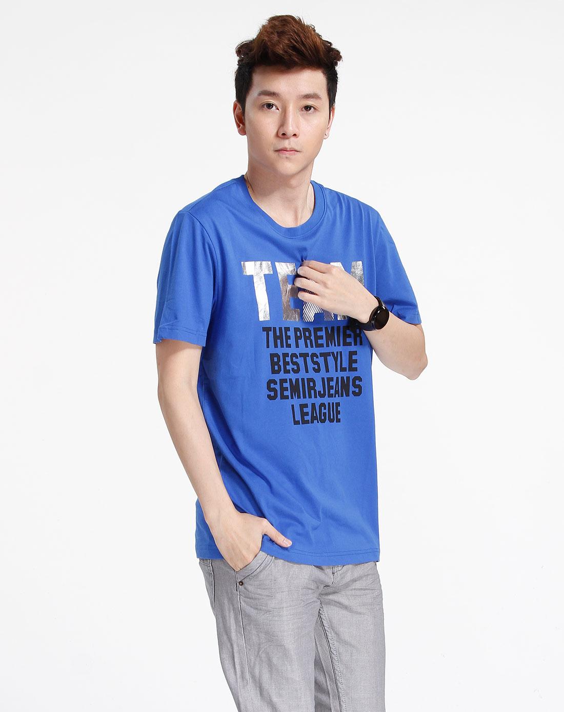 森马-男装蓝色印字休闲短袖t恤002141022-830图片