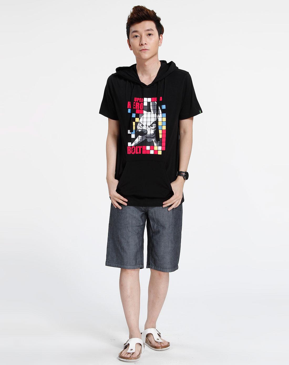 森马-男装黑色时尚连帽短袖t恤002151024-900图片
