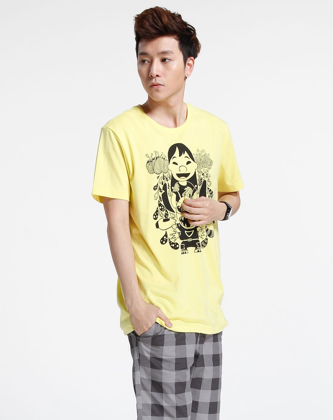 森马-男装黄色短袖t恤002151027-371图片