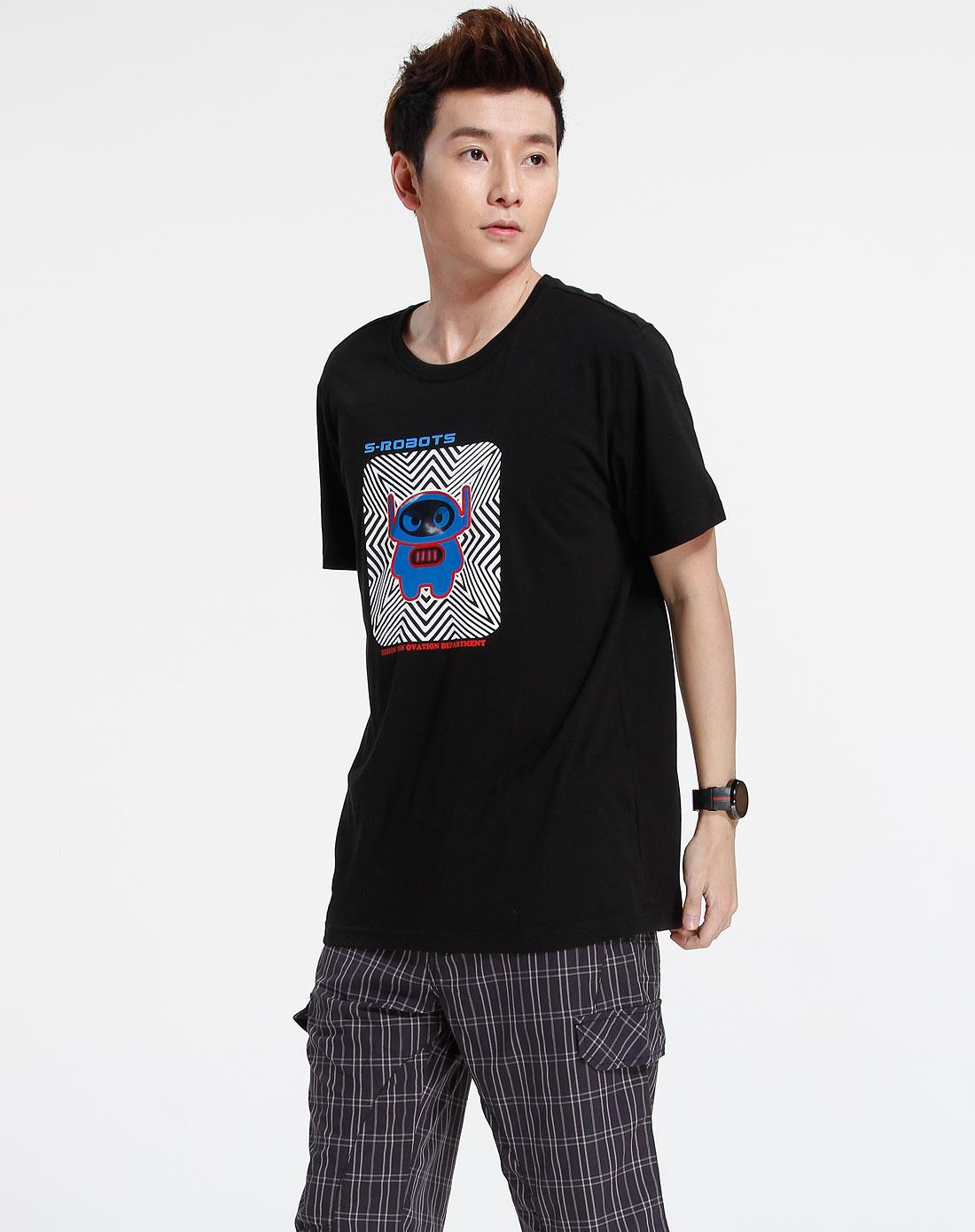 森马-男装黑色时尚印图短袖t恤002151070-900图片