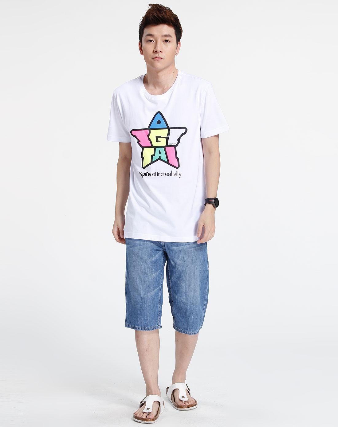 森马-男装白色印图短袖t恤002151086-100图片