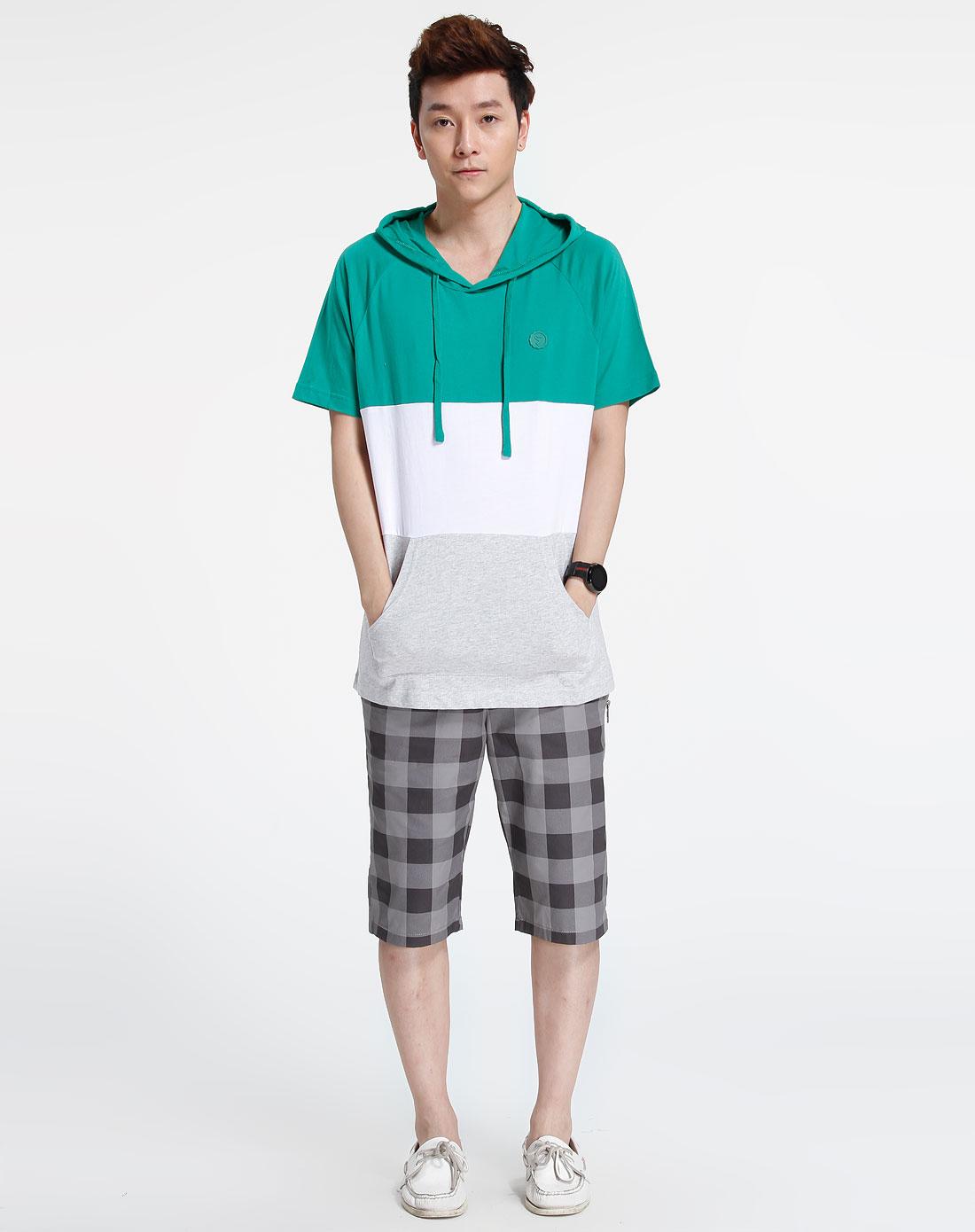 森马-男装-绿色短袖个性上衣图片