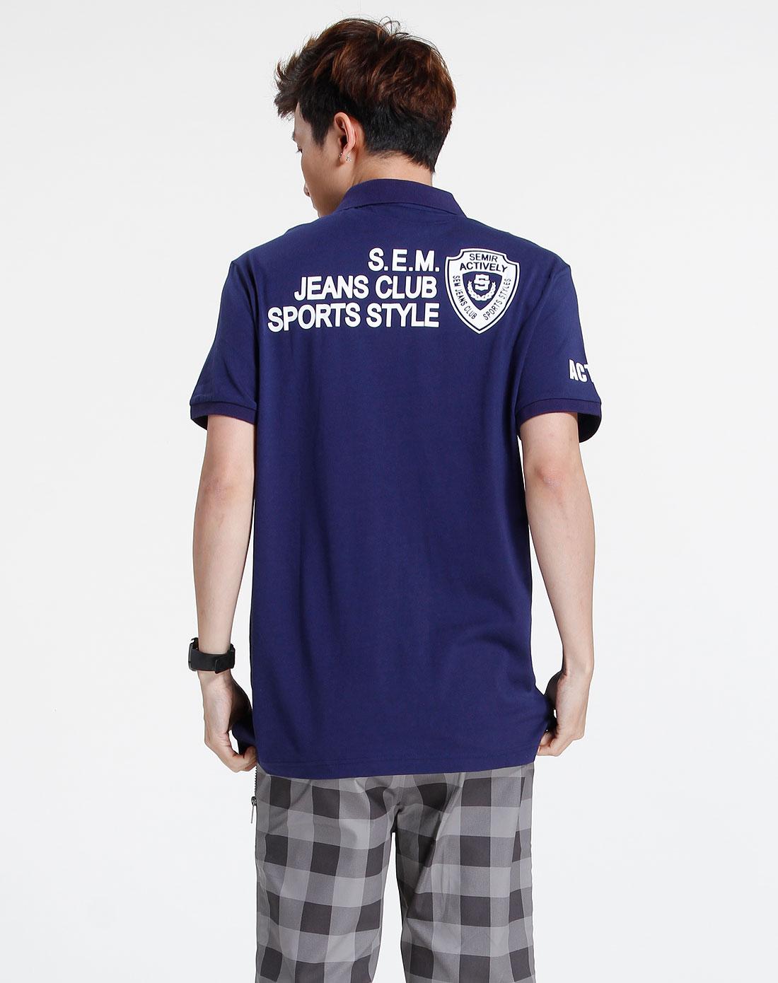 森马-男装深蓝色休闲短袖t恤002151118-812图片