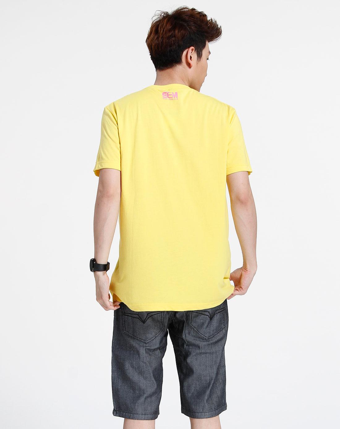 森马-男装-黄色时尚印图短袖t恤图片