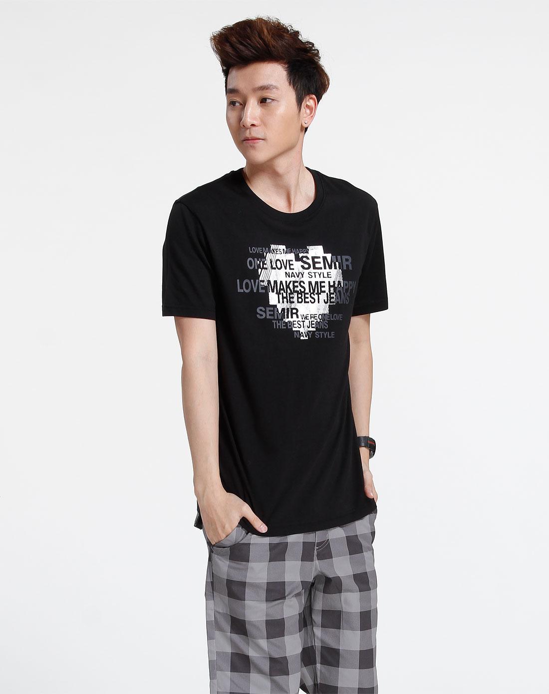 森马-男装黑色休闲印花短袖t恤002151515-900图片