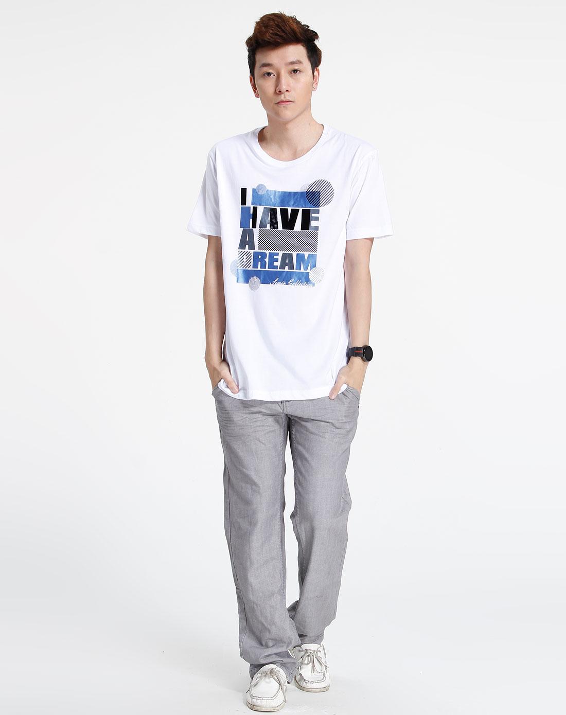 森马-男装-白色简约印字短袖t恤图片