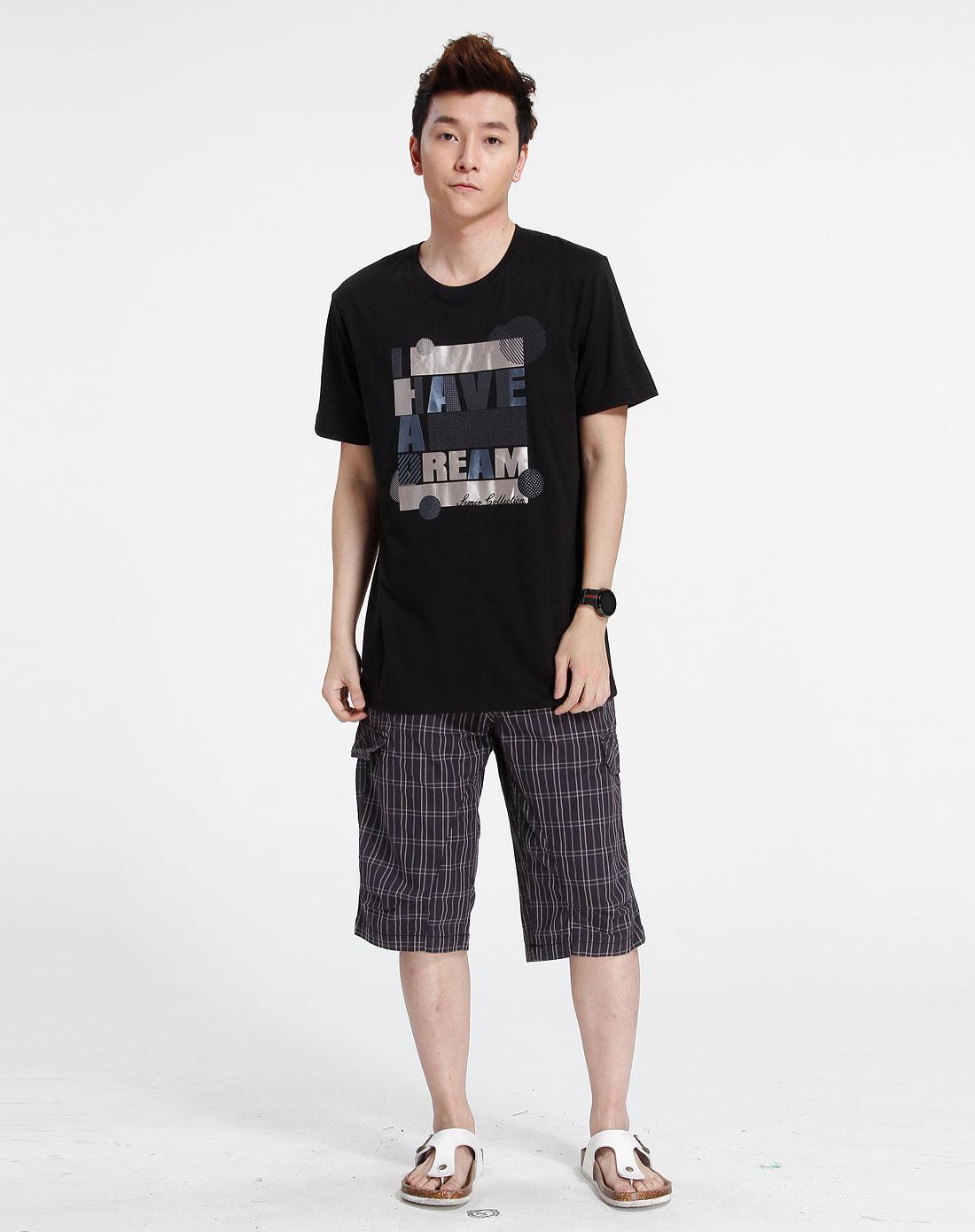 森马-男装黑色时尚个性短袖t恤002151526-900图片