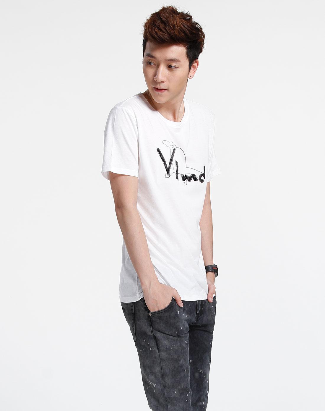 森马-男装白色短袖时尚t恤002151611-110