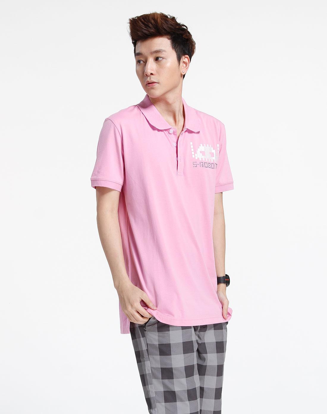 森马-男装-粉红色休闲短袖t恤图片