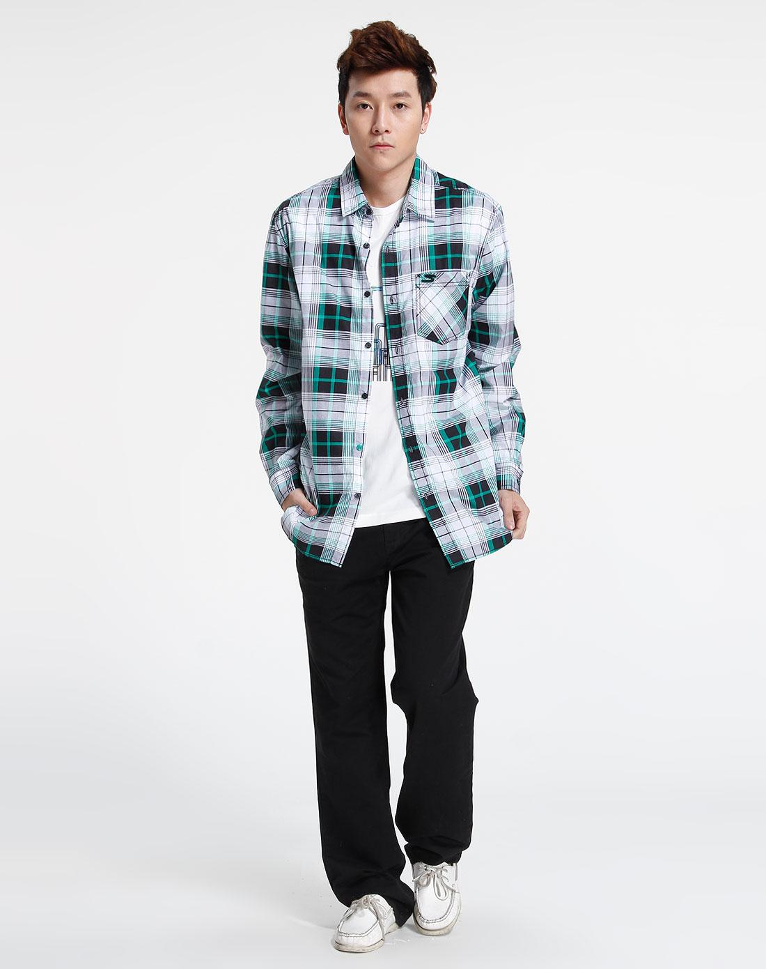 森马-男装-绿/黑色格子长袖休闲衬衫图片