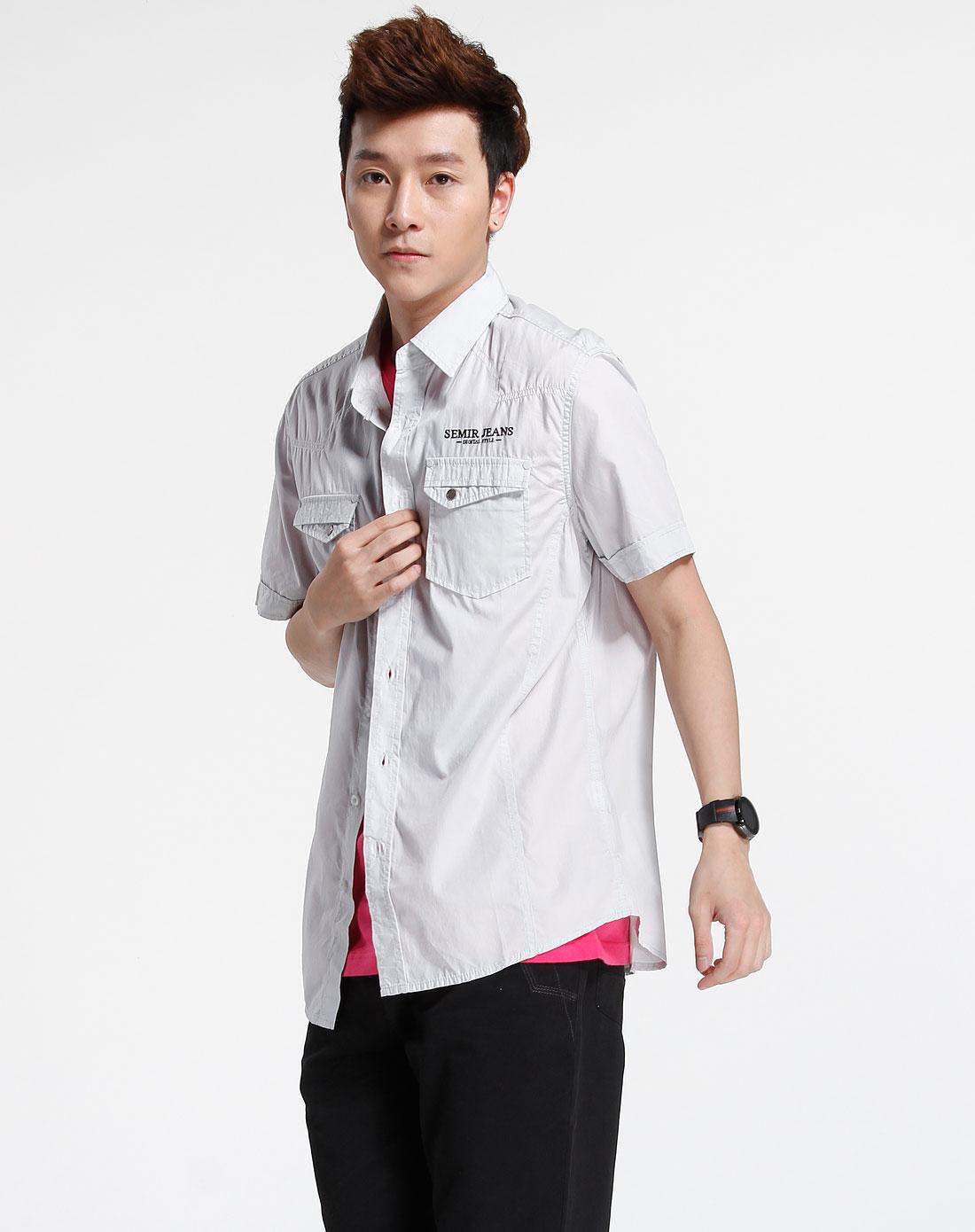 森马-男装灰色休闲短袖衬衫082151012-250图片
