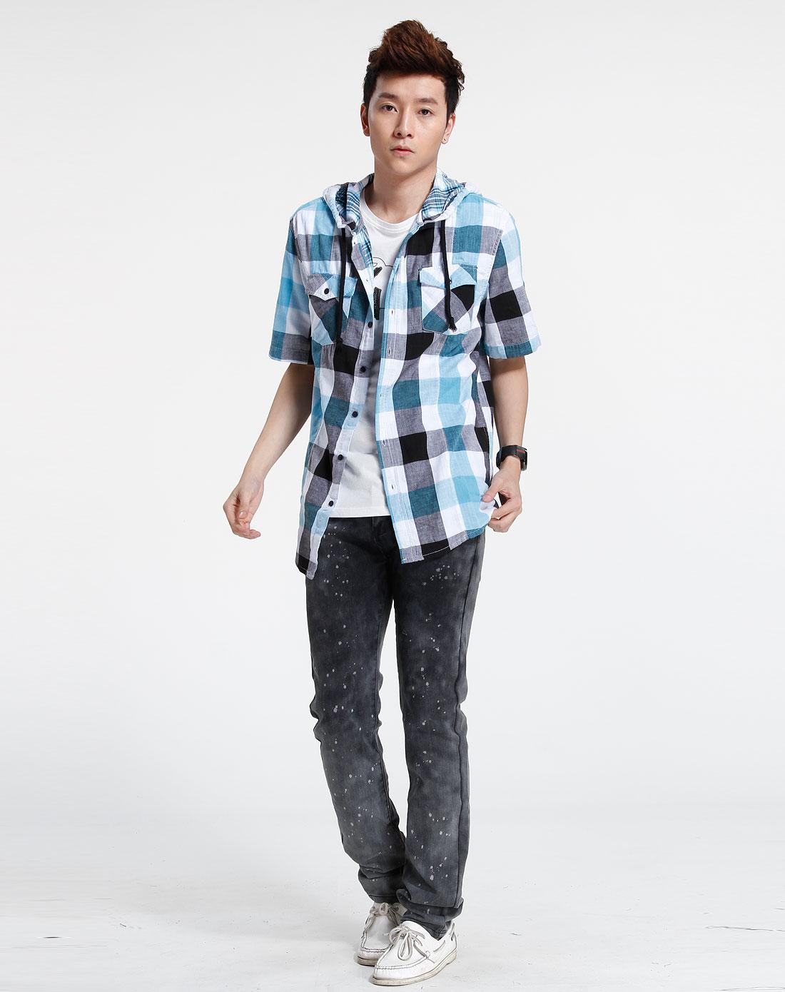 森马-男装蓝/白色短袖休闲衬衫082151013-098图片