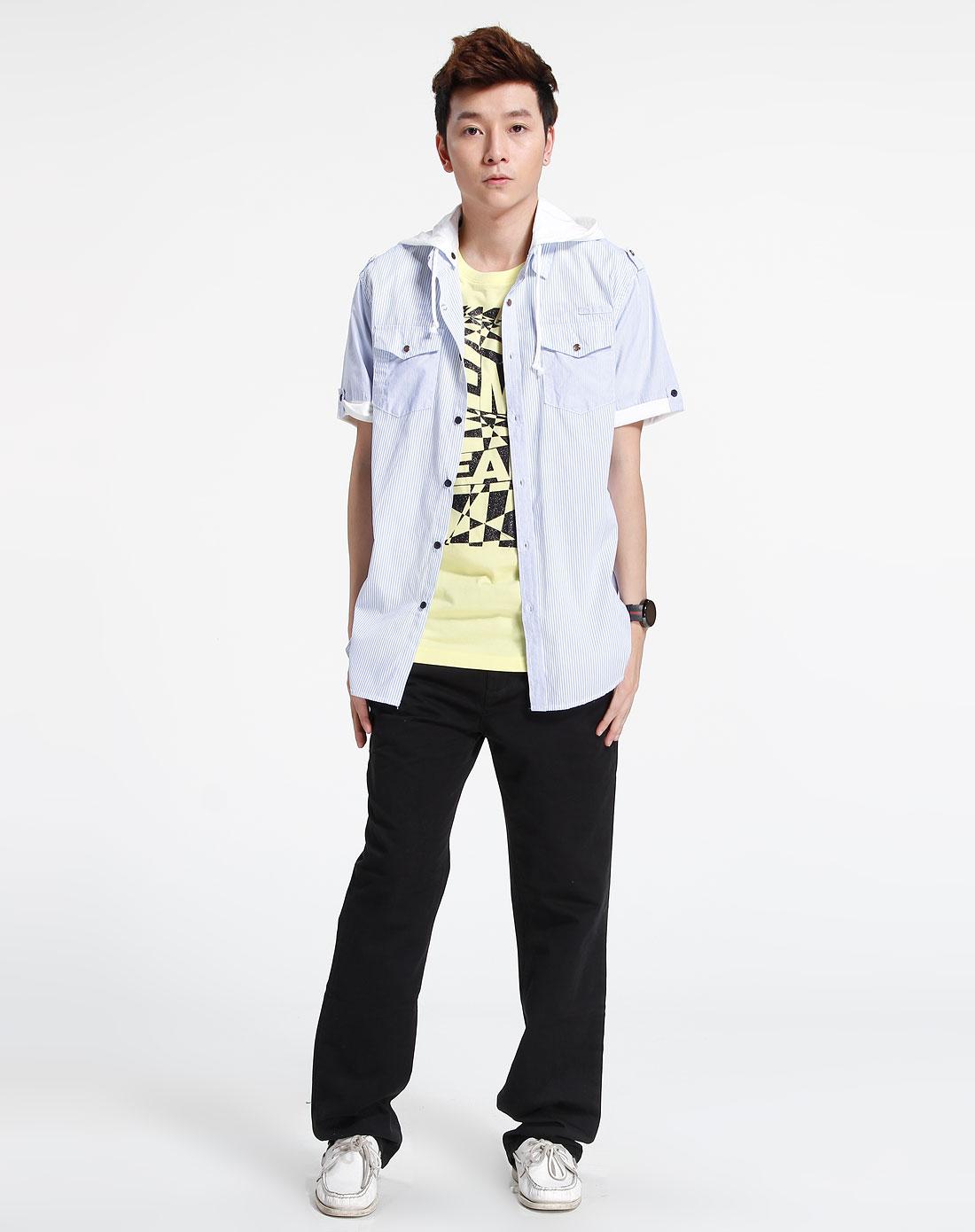 森马-男装-蓝/白色休闲短袖衬衫图片