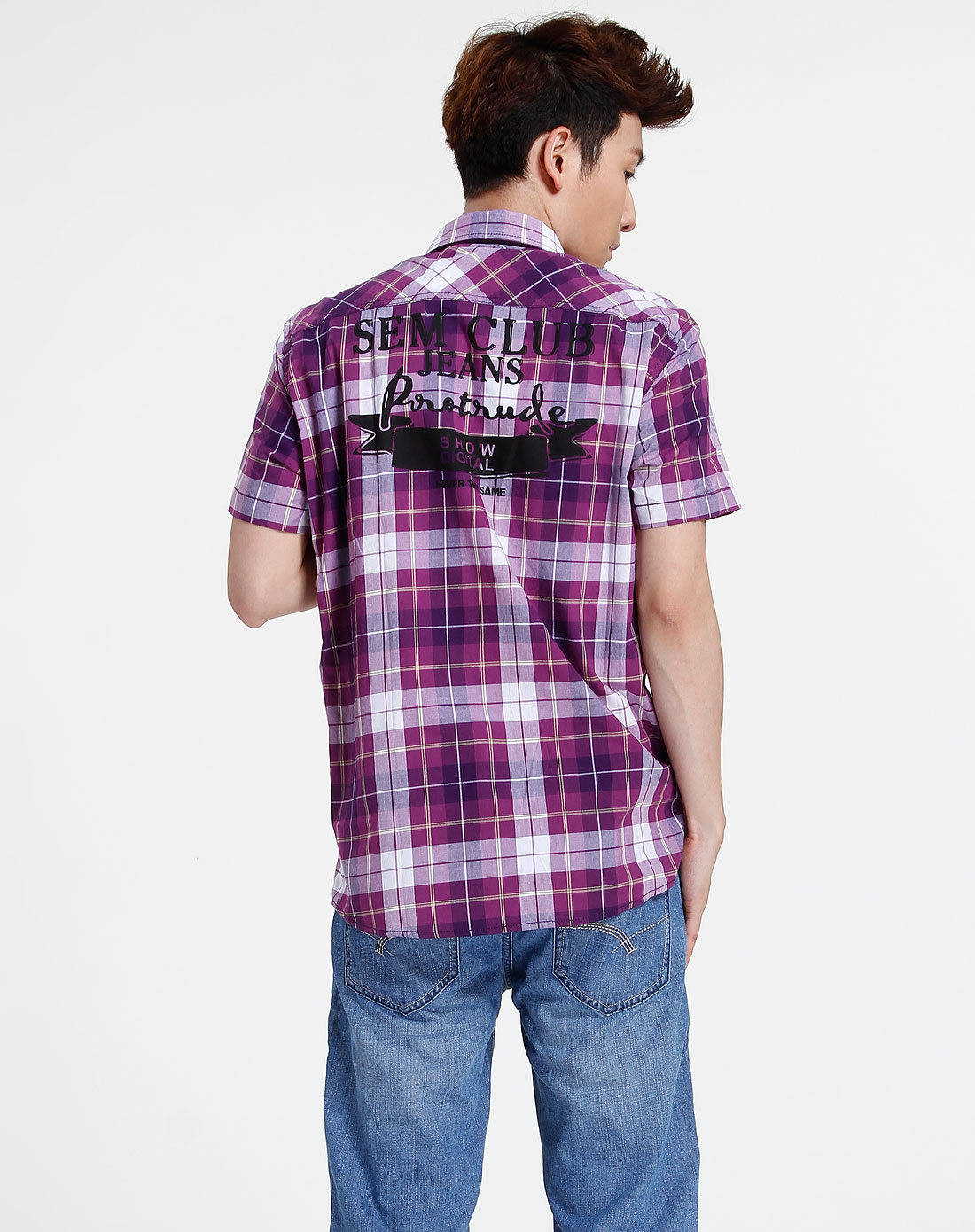 森马-男装紫色格子短袖休闲衬衫082151513-070图片