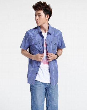 森马-男装蓝色细格子圆圈图案短袖衬衫082151519-082图片