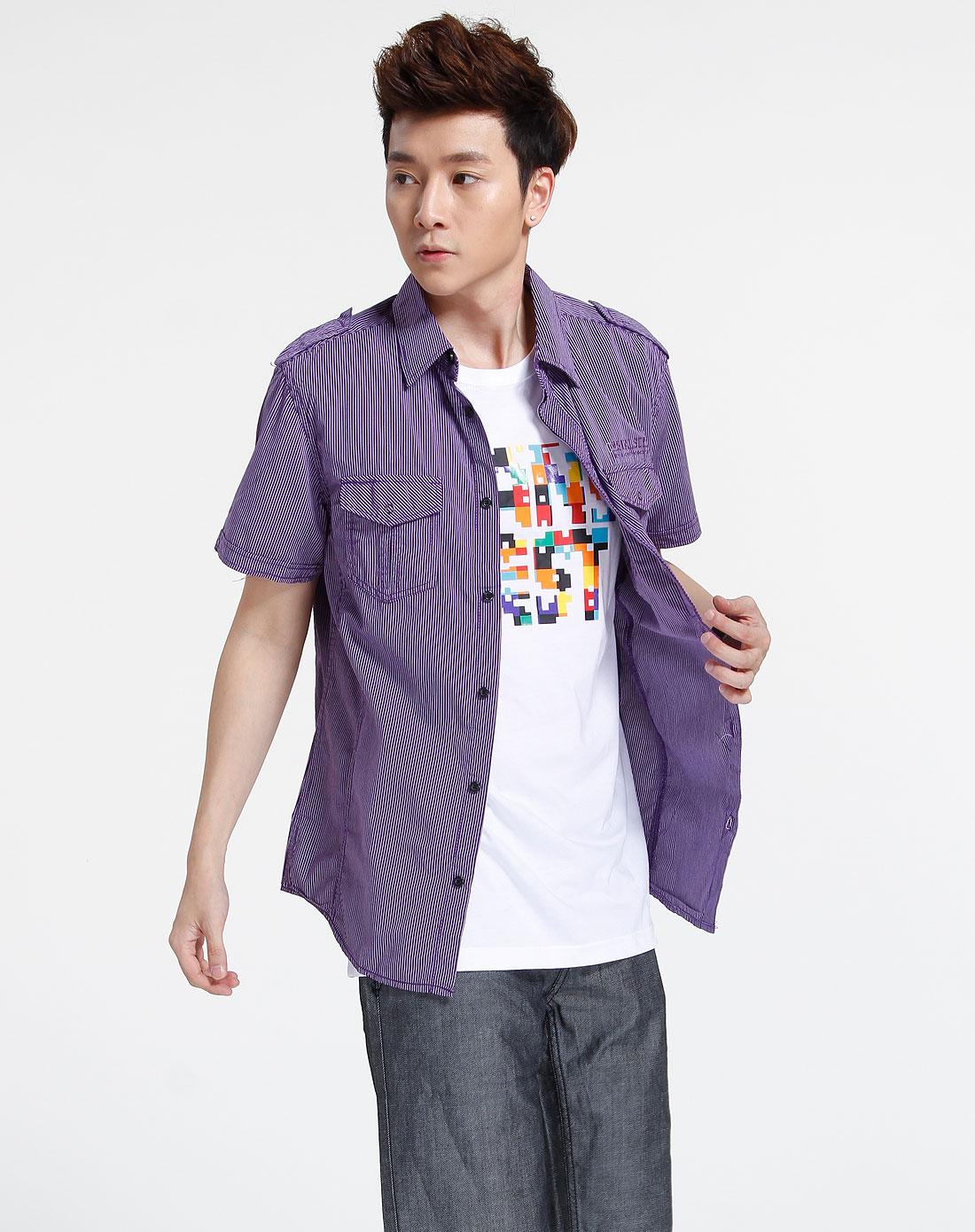 森马-男装紫色时尚条纹短袖衬衫082151526-070图片