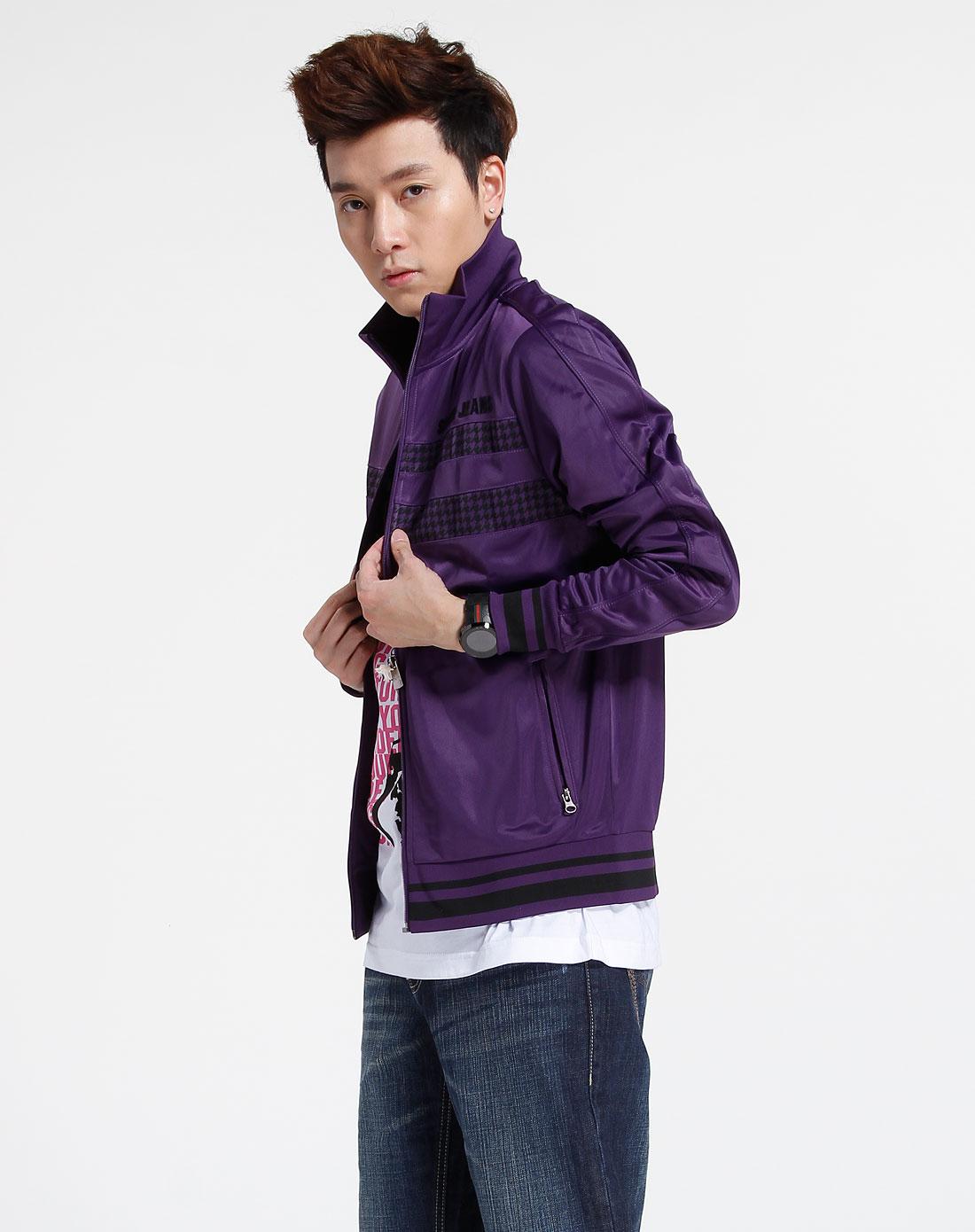 森马-男装深紫色时尚长袖休闲外套091141504-723图片