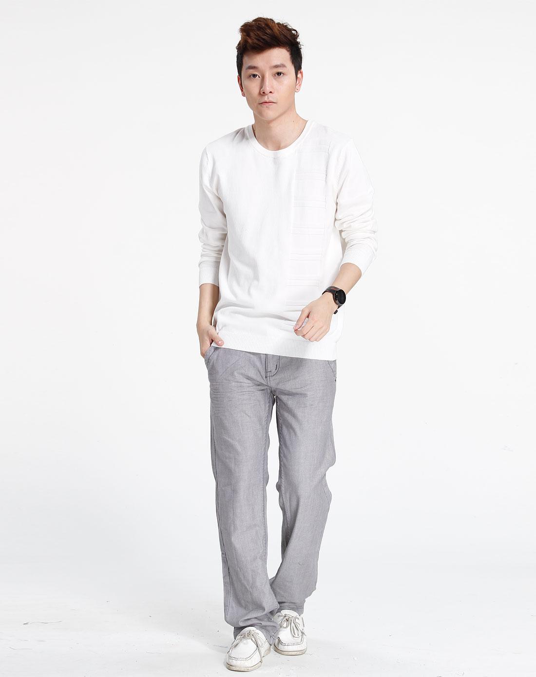 森马-男装白色简约长袖针织衫111141802-110图片