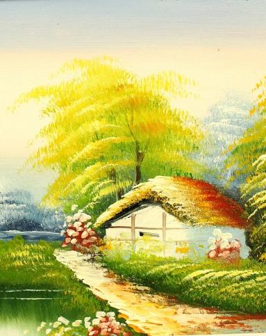 琪特qite纯手绘风景油画林中小屋yh-1013yh-1013
