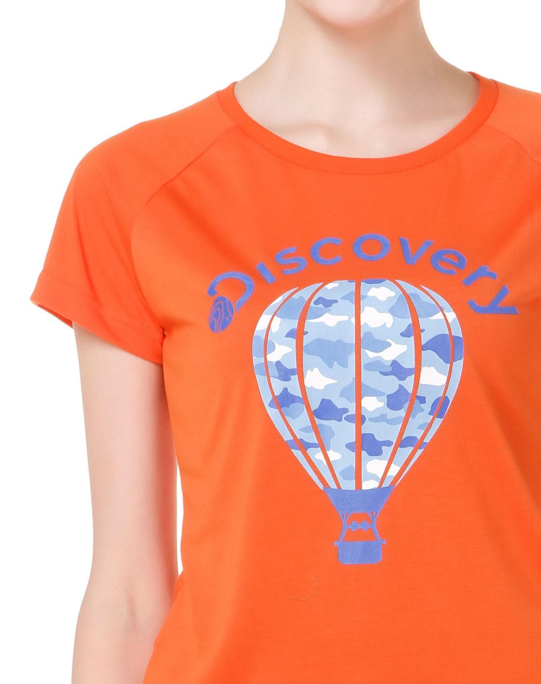 女款印热气球桔色短袖速干t恤