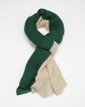 米黄/绿色曲线毛织围巾