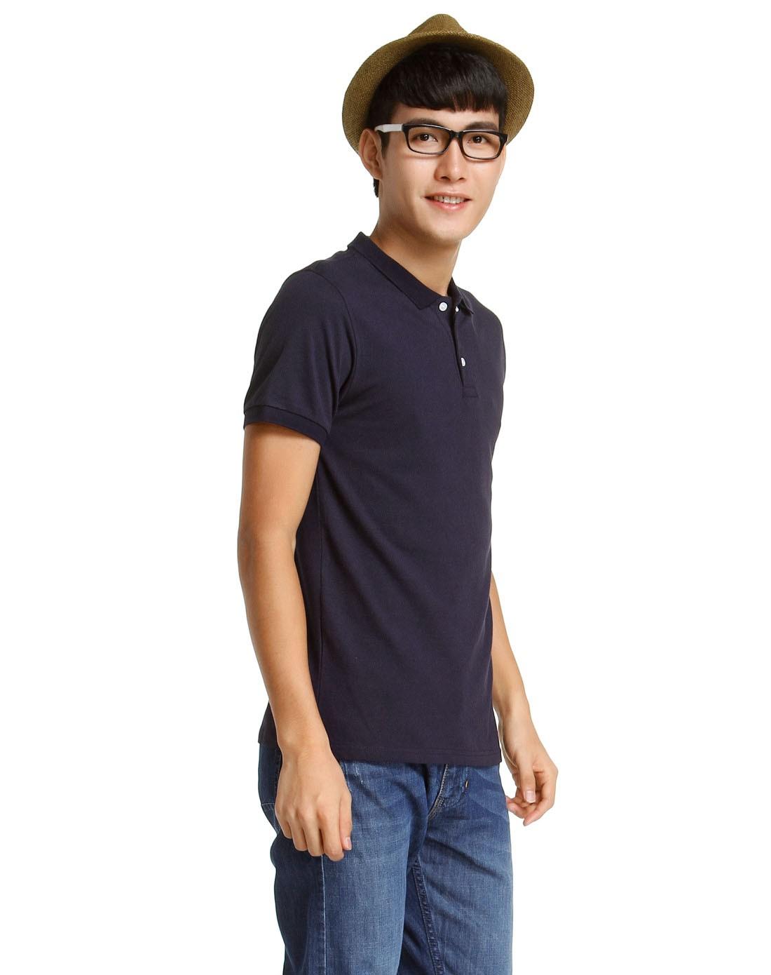 男款纯色简约藏青色短袖polo衫