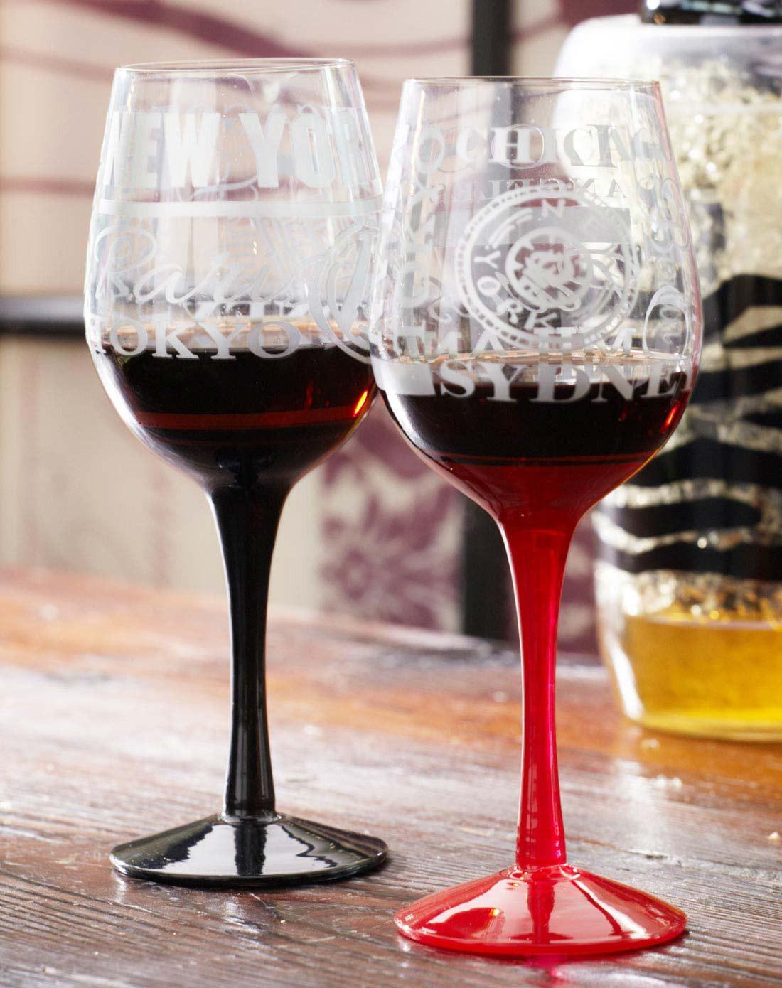 > 艺术玻璃印花 手绘红酒杯两件套礼盒