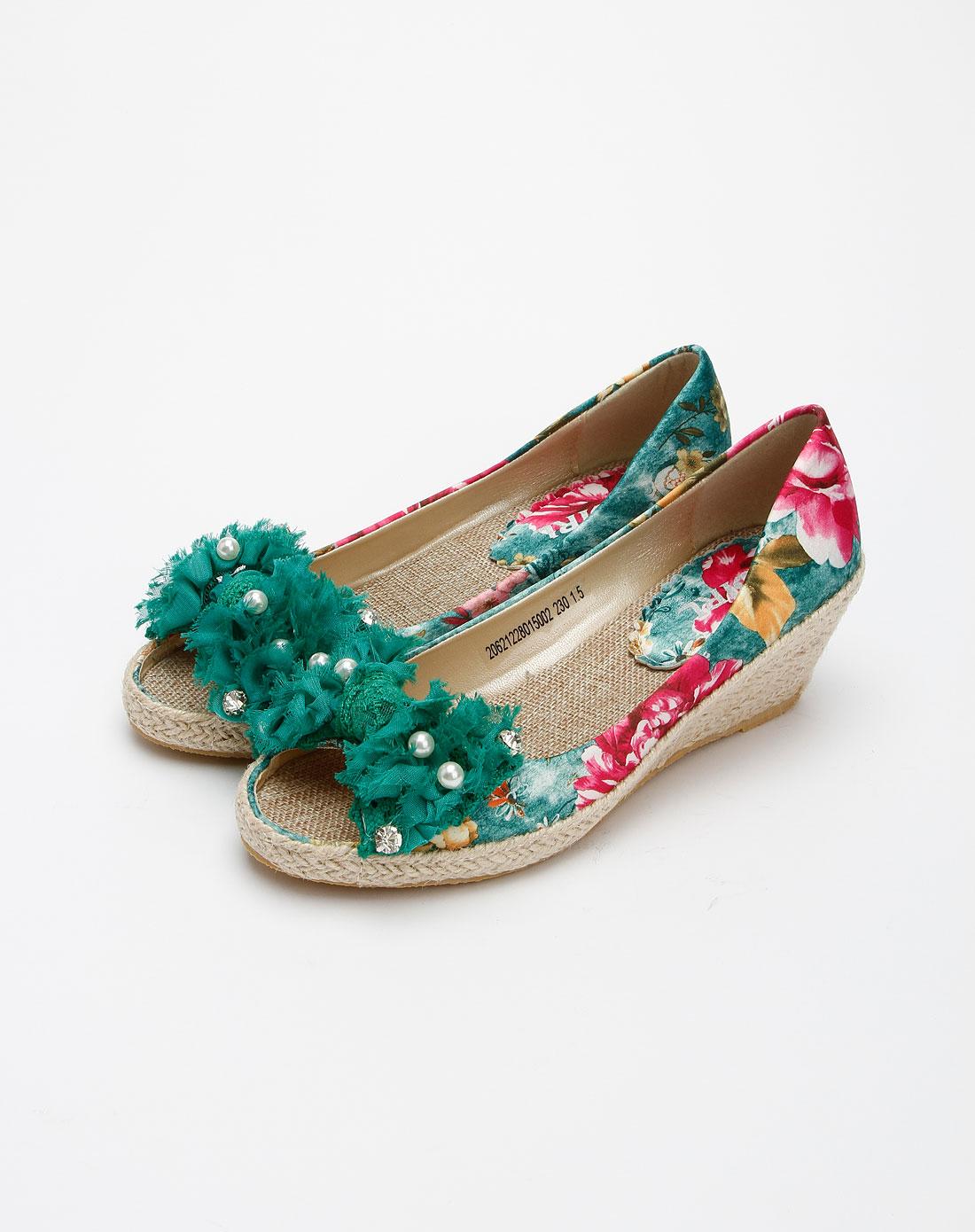 女款绿色甜美可爱珍珠花朵坡跟鱼嘴鞋