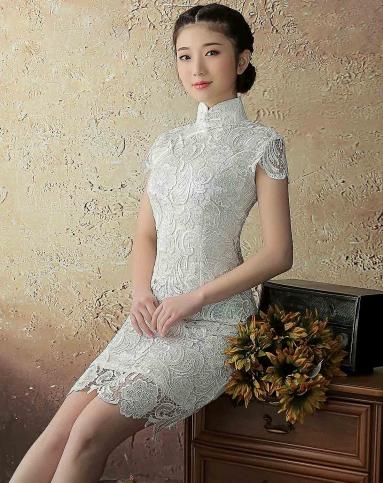 清影 水溶蕾丝旗袍裙