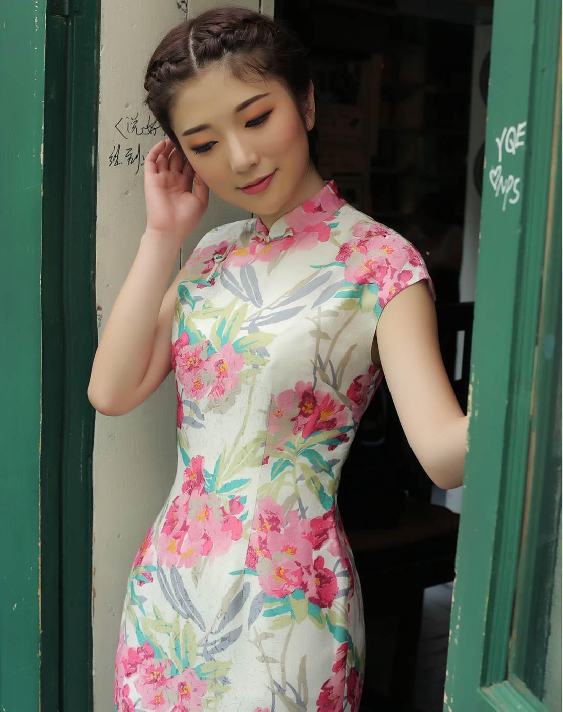 真丝旗袍裙图片
