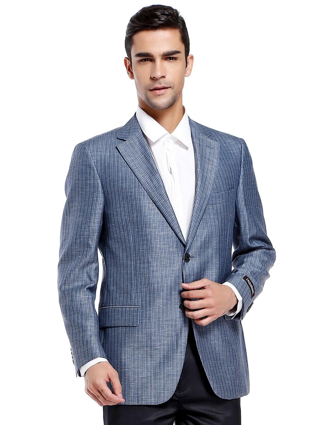 蓝/黑色竖条纹大气长袖西装