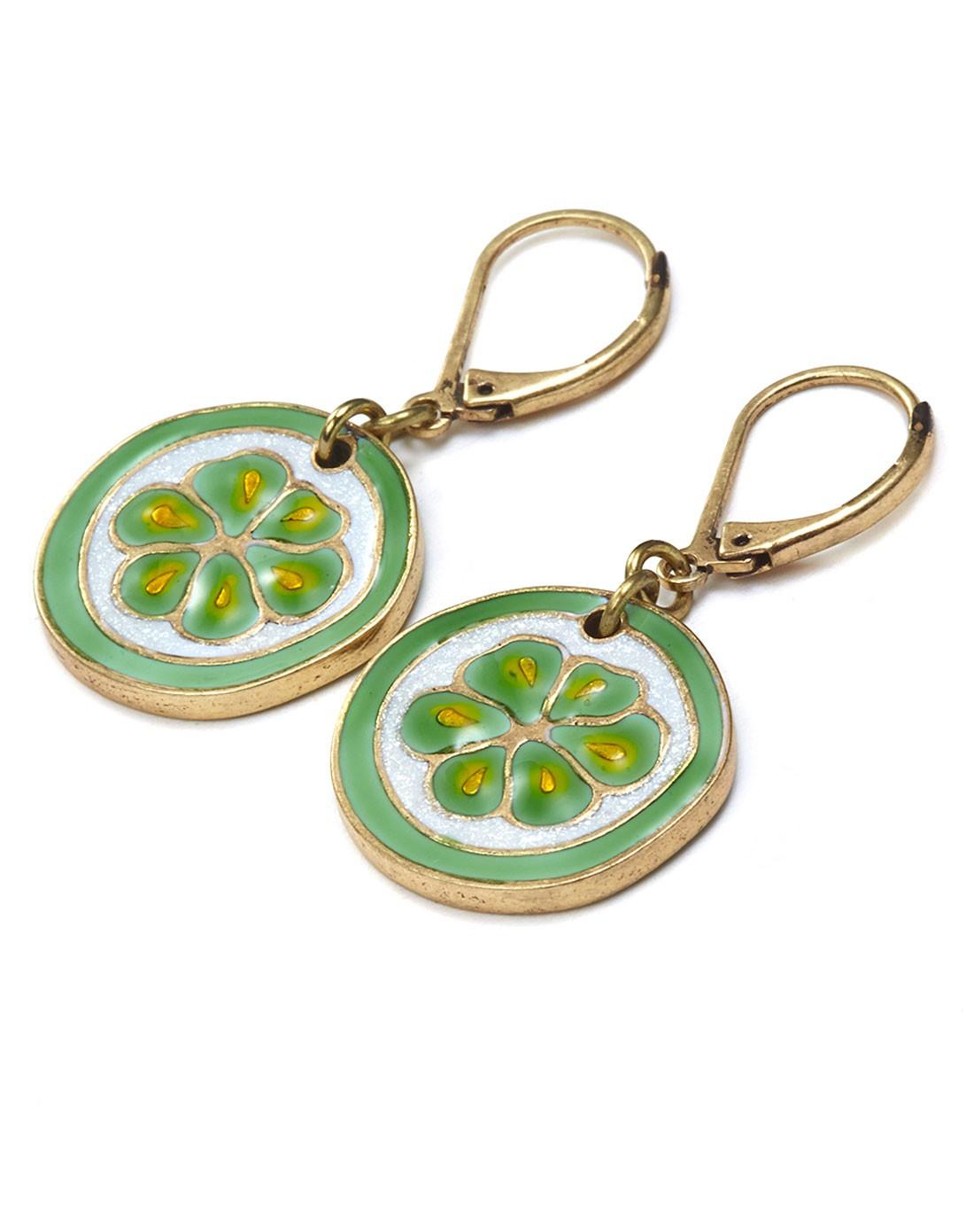 可爱彩色切片柠檬耳环