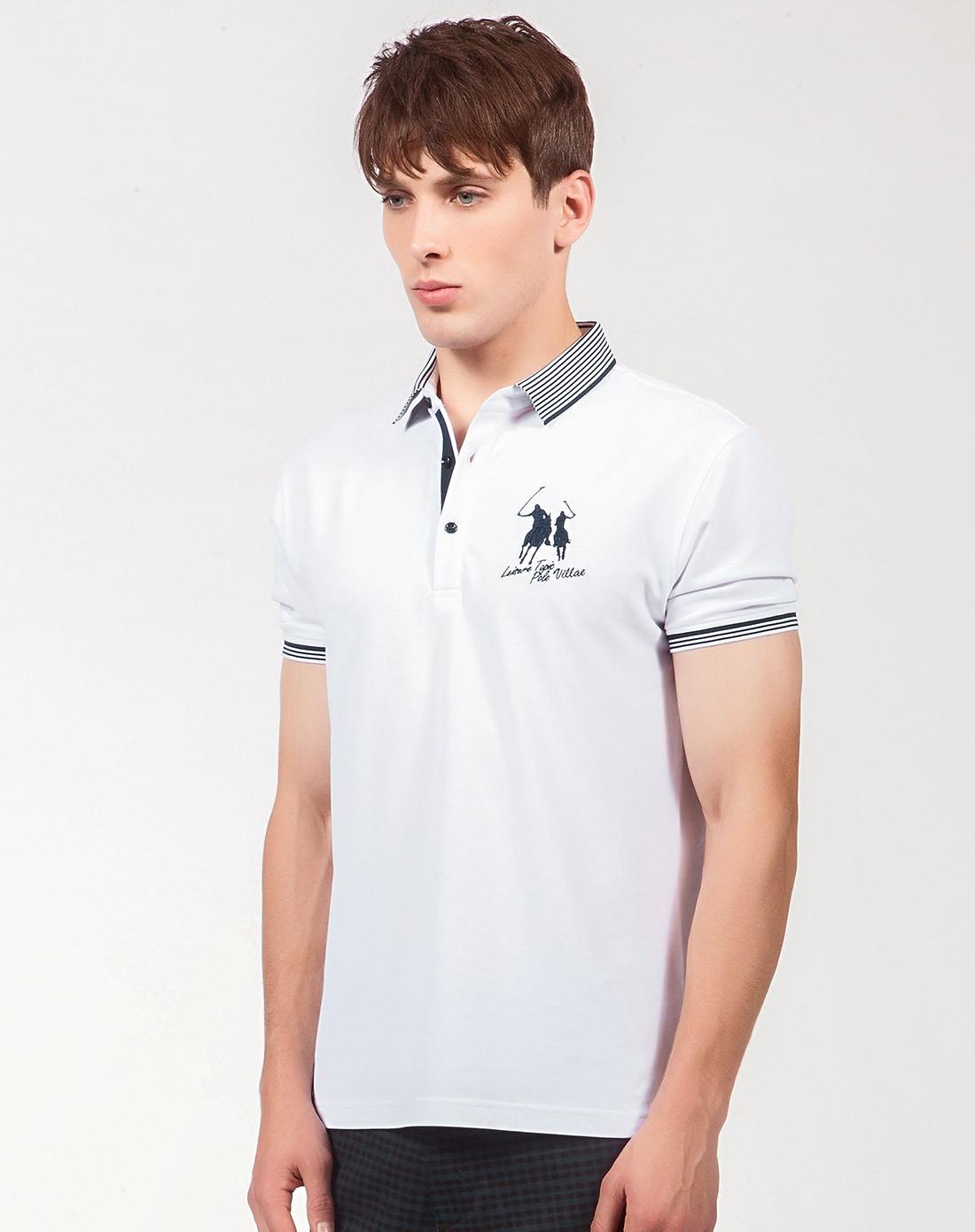 刺绣白色短袖polo衫
