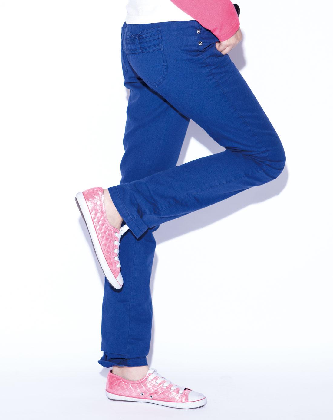 玩偶女孩摩登彩色牛仔裤-宝蓝