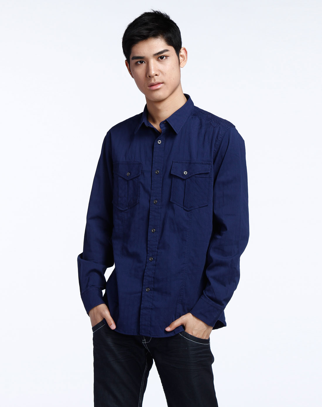 深蓝色织花长袖衬衫b71