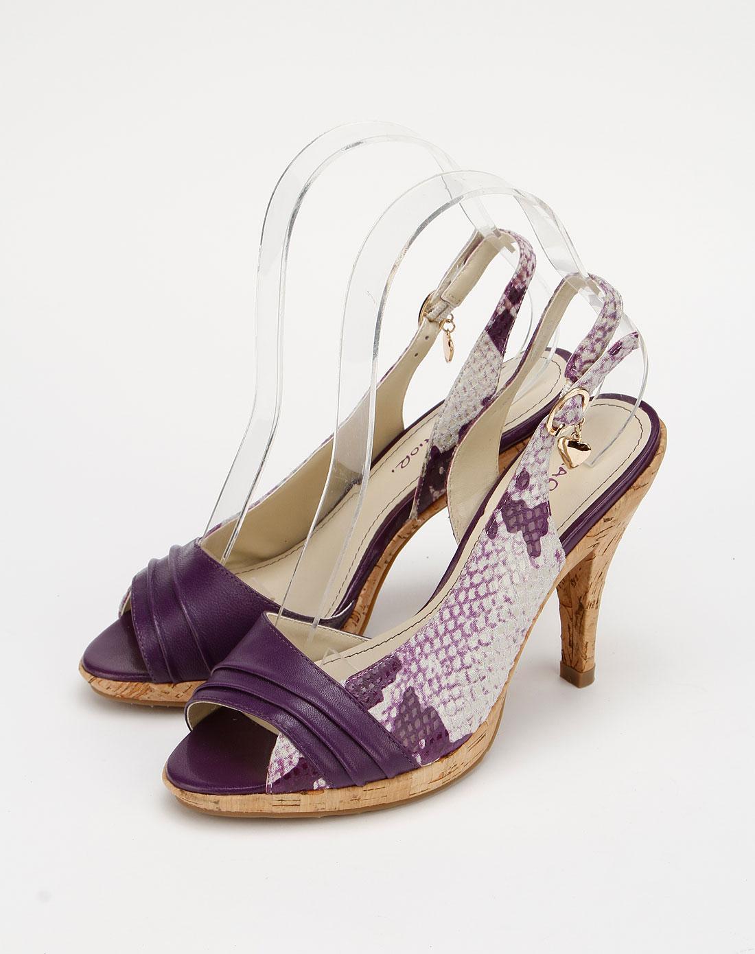 蜜丝罗妮marchiori紫色蛇纹羊皮女凉鞋26101511-0012
