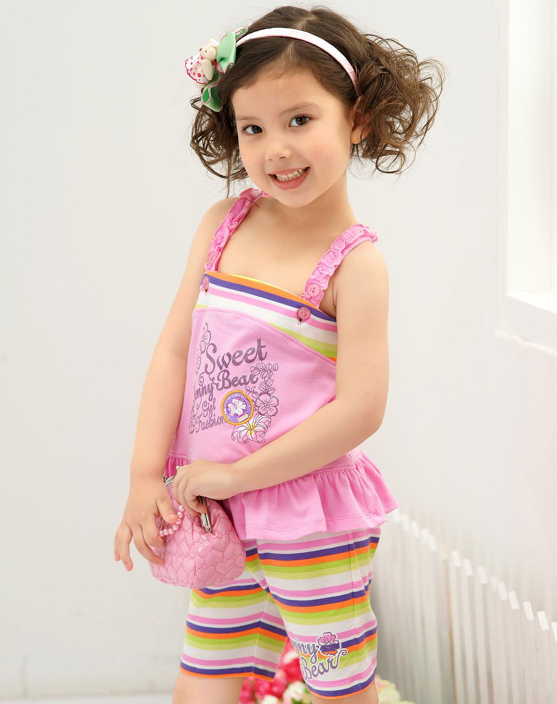 女童粉色条纹炫可爱吊带小套装