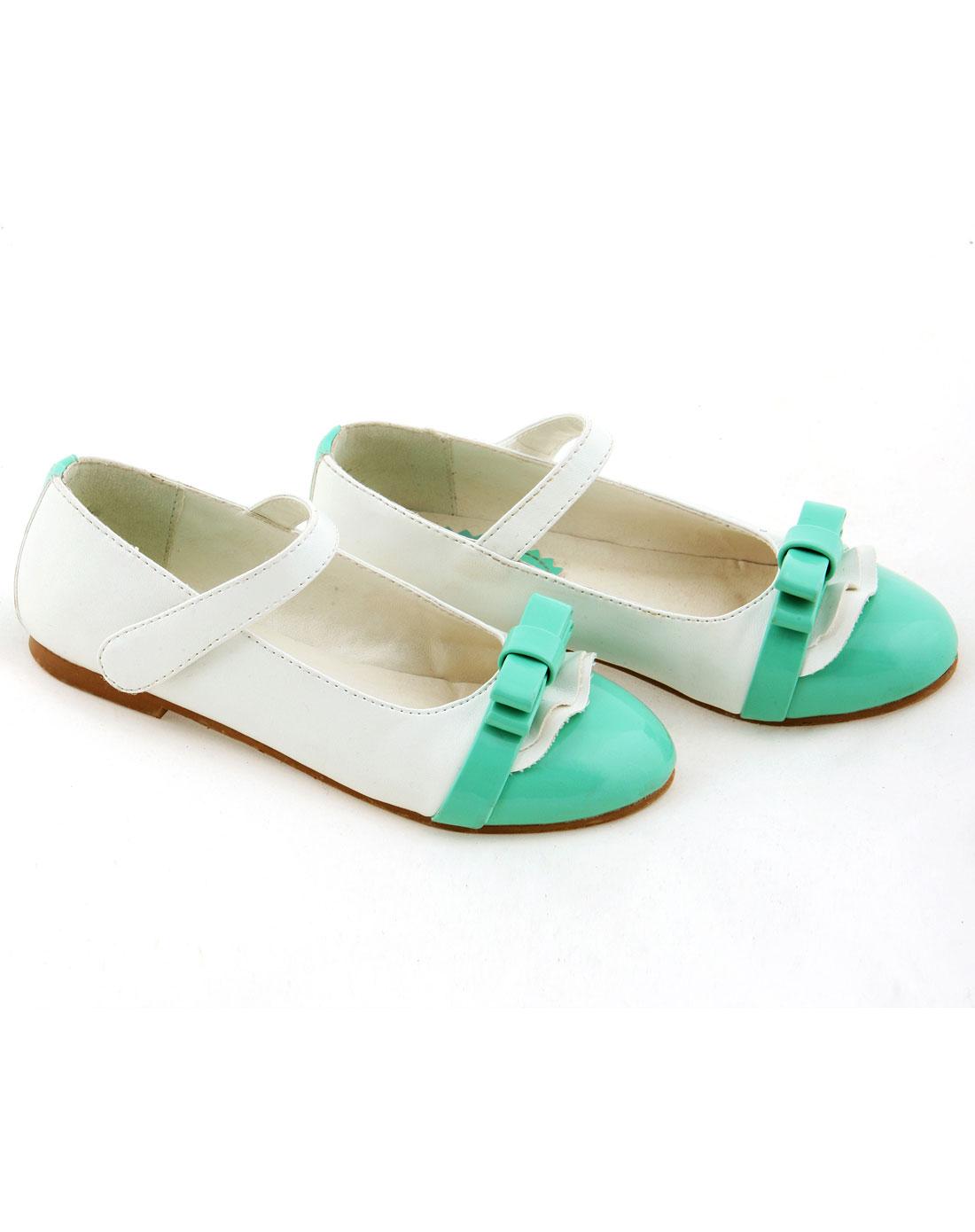 女童绿色可爱竹蜻蜓皮鞋