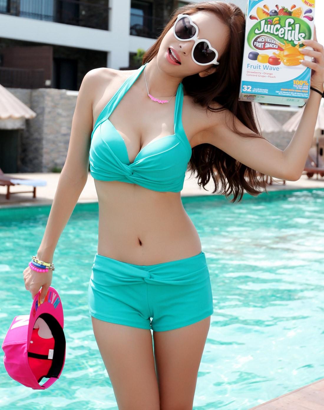 亦美珊女士泳衣专场可爱糖果分体泳衣1439绿色