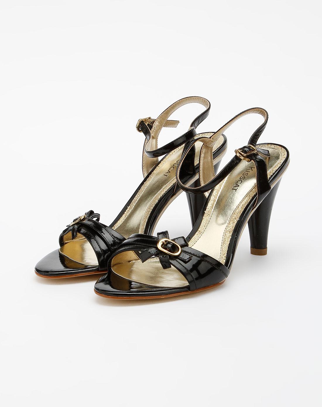 kisscat黑色时尚休闲高跟凉鞋