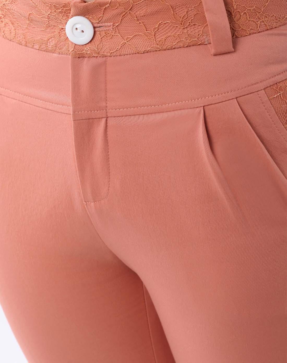 优衣美女裤专场粉橙色裤头蕾丝拼接七分裤132371r