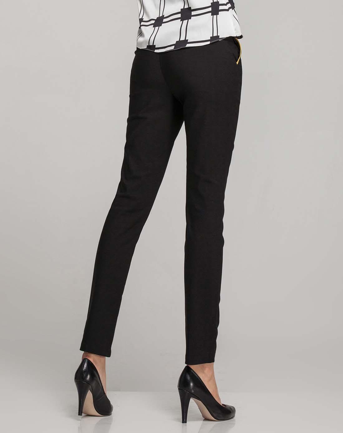 优衣美女裤专场黑色拼接口袋小脚铅笔长裤1424168b