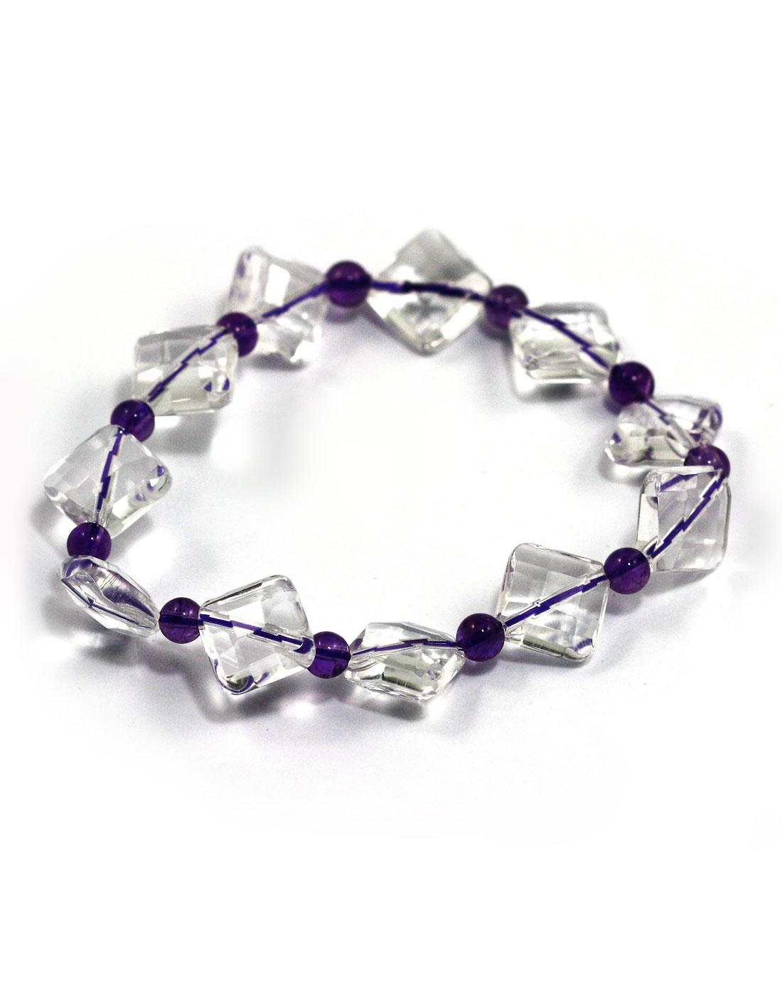 盈满堂天然白水晶配紫水晶手链