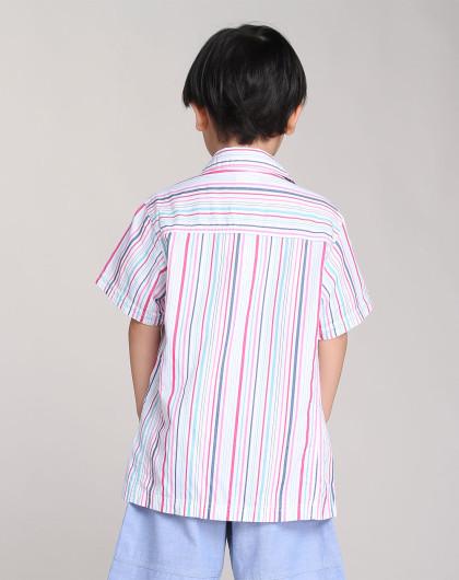 男童白/粉红/浅绿色竖条纹时尚短袖衬衫