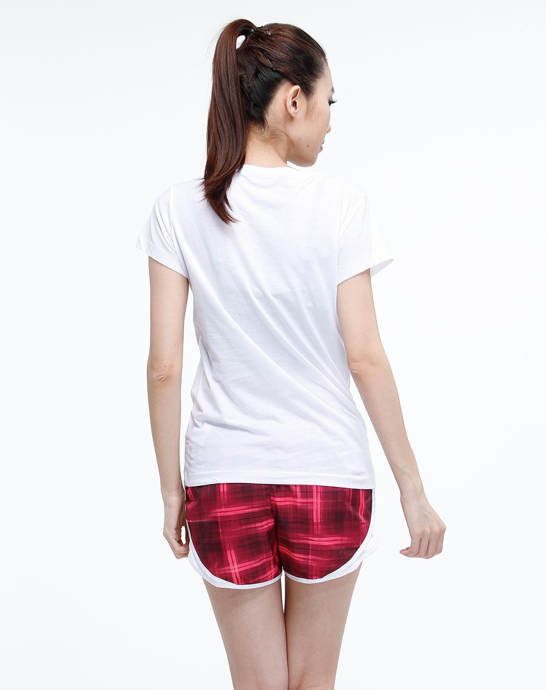 白色个性印花图案案运动生活短袖t恤
