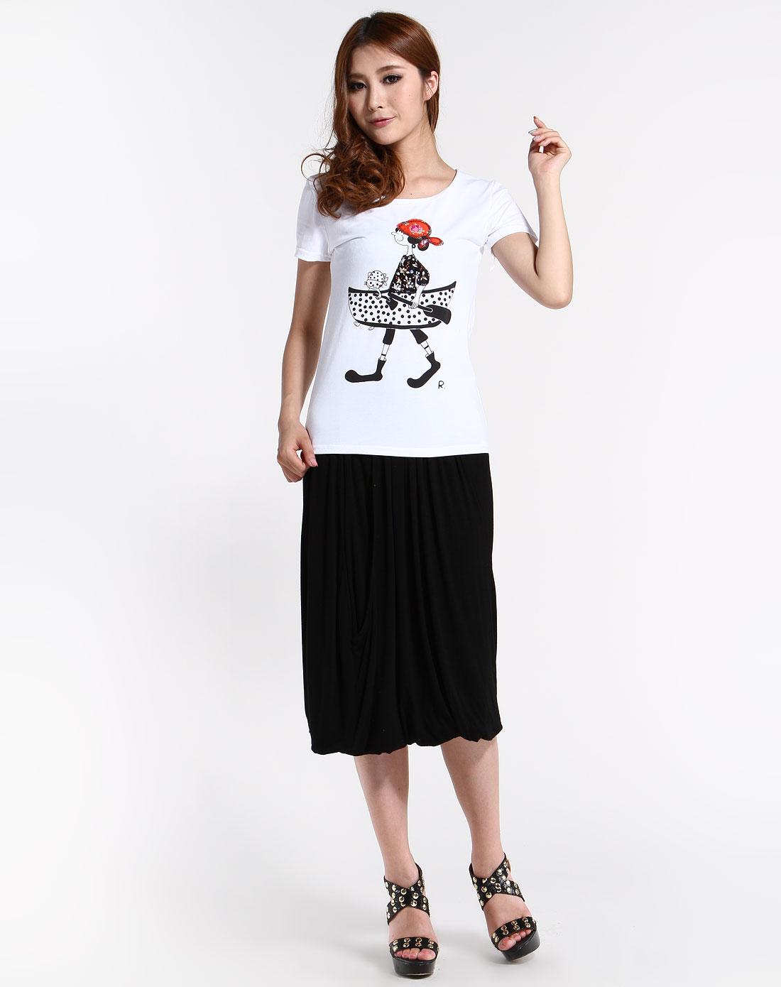 白色贴钻手绘图案短袖t恤