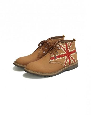 2014秋季新品男款棕色米旗时尚马丁靴