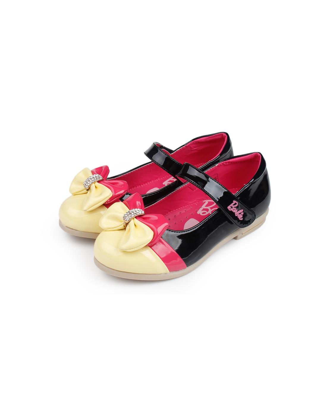 芭比女童黑色可爱公主皮鞋