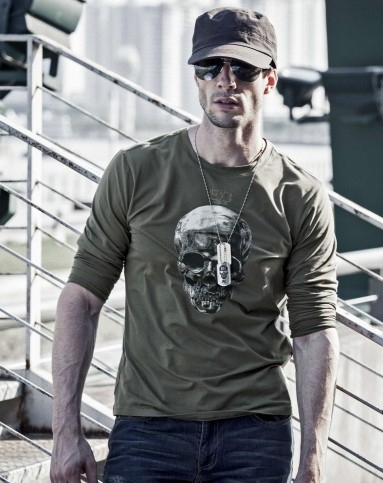 男军绿敢死队骷髅头长袖t恤