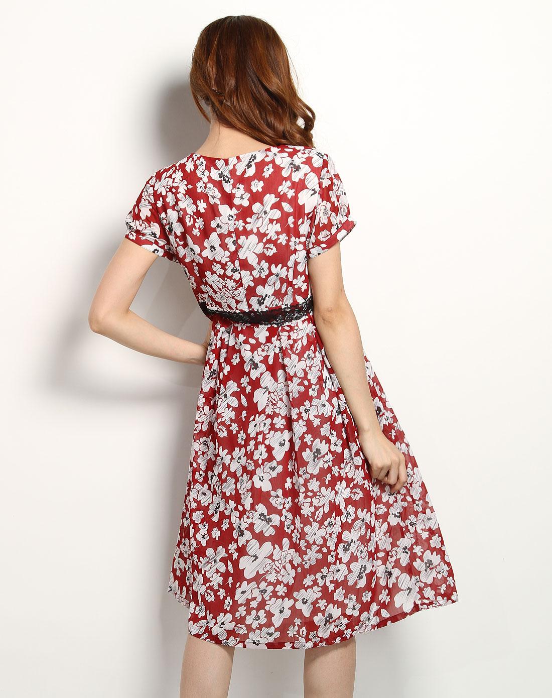 深红/白色时尚花纹短袖连衣裙
